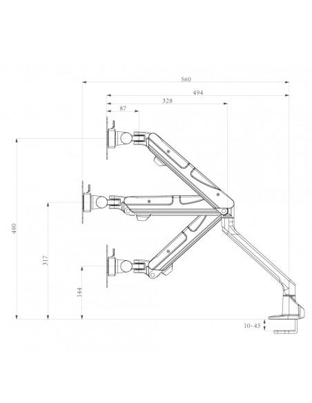 """Newstar NM-D900 76.2 cm (30"""") Puristin/Läpipultattu Musta Newstar NM-D900BLACK - 3"""