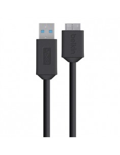 Belkin F3U166bt USB-kaapeli 0.9 m USB 3.2 Gen 1 (3.1 1) A Micro-USB B Musta Belkin F3U166BT0.9M - 1