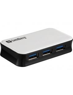 Sandberg USB 3.0 Hub 4 ports 3.2 Gen 1 (3.1 1) Micro-B 5000 Mbit/s Black, White Sandberg 133-72 - 1