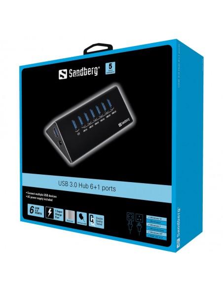 Sandberg USB 3.0 Hub 6+1 ports 3.2 Gen 1 (3.1 1) Micro-B 5000 Mbit/s Svart Sandberg 133-82 - 2