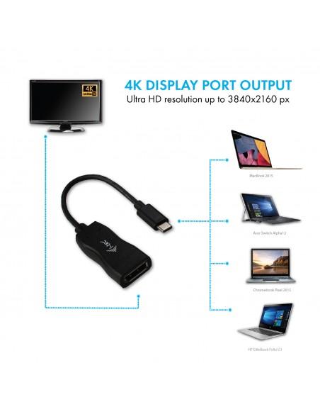 i-tec C31DP cable gender changer USB-C 3.1 DisplayPort Musta I-tec Accessories C31DP - 4