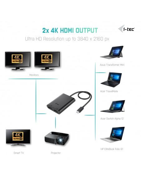 i-tec C31DUAL4KHDMI USB grafiikka-adapteri 3840 x 2160 pikseliä Musta I-tec Accessories C31DUAL4KHDMI - 4