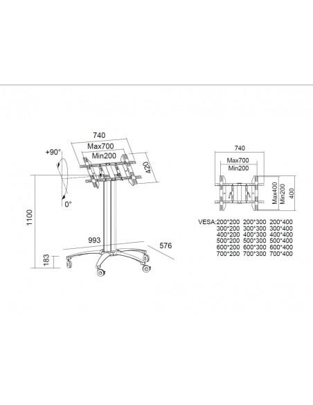 """Multibrackets 5378 kyltin näyttökiinnike 139.7 cm (55"""") Hopea Multibrackets 7350022735378 - 6"""