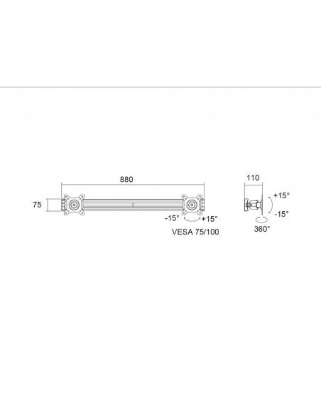 "Multibrackets M Public Display Stand Dual Screen Mount 15""-32"" Silver Multibrackets 7350022736344 - 6"