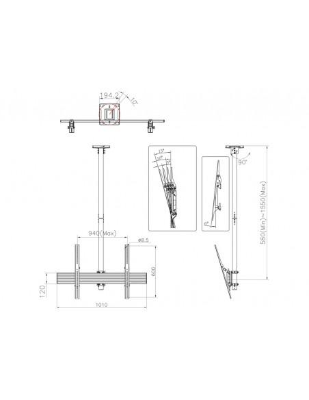 """Multibrackets 5778 fäste för skyltningsskärm 190.5 cm (75"""") Svart Multibrackets 7350073735778 - 9"""