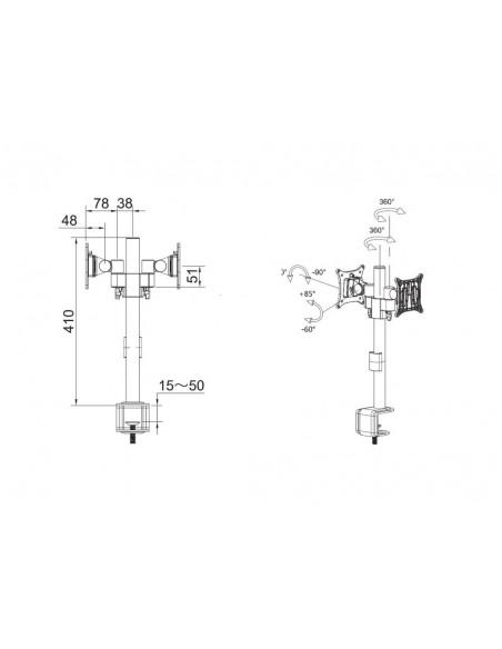 """Multibrackets 5860 monitorin kiinnike ja jalusta 76.2 cm (30"""") Puristin/Läpipultattu Musta Multibrackets 7350073735860 - 6"""