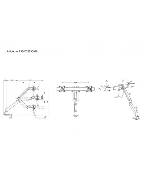 Multibrackets M VESA Gas Lift Arm Single Silver w. Duo Crossbar Multibrackets 7350073735938 - 11