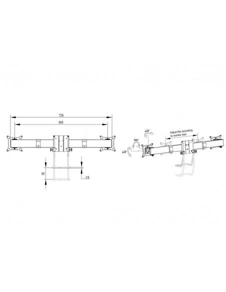 Multibrackets M VESA Gas Lift Arm Single Silver w. Duo Crossbar Multibrackets 7350073735938 - 12