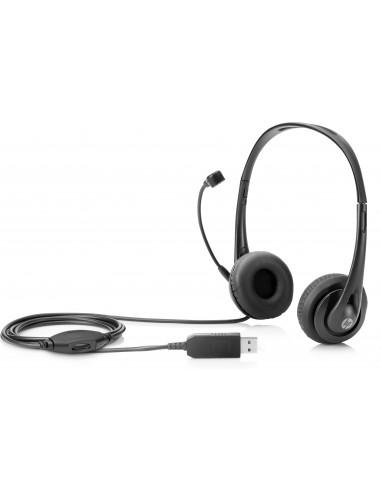 HP Stereo USB Headset Head-band Black Hp T1A67AA - 1