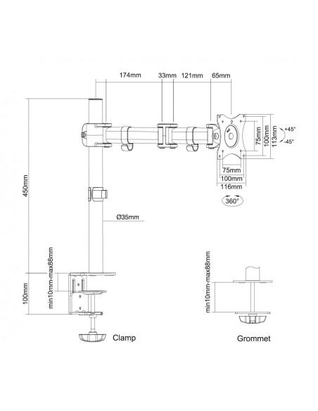 """Newstar NM-D135 76.2 cm (30"""") Puristin/Läpipultattu Musta Newstar NM-D135BLACK - 10"""