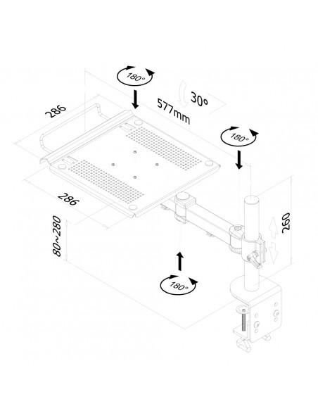 """Newstar NOTEBOOK-D100 Ställ för bärbara datorer 55.9 cm (22"""") Svart Newstar NOTEBOOK-D100 - 3"""