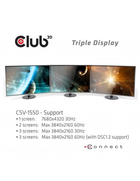 CLUB3D USB TYPE C 3.2 GEN1 MULTISTREAM TRANSPORT MST HUB DISPLAY PORT 1.4 TRIPLE MONITOR Displayport male female Musta Club 3d C