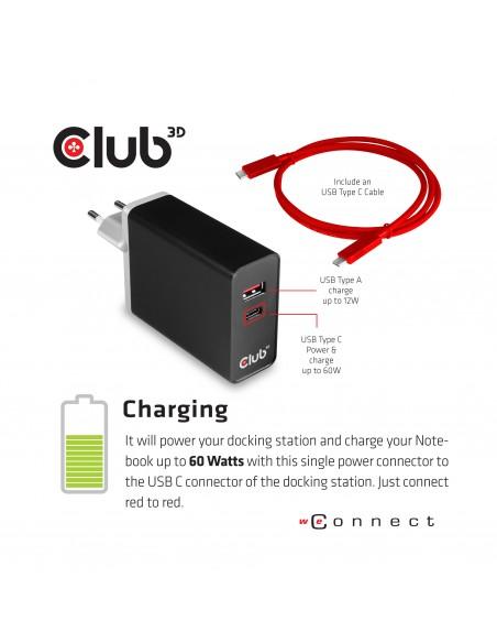 CLUB3D USB TC3.2 Gen 1 Trip dyn PD C60W-100W Telakointi 3.2 (3.1 1) Type-C Musta Club 3d CSV-1564 - 5