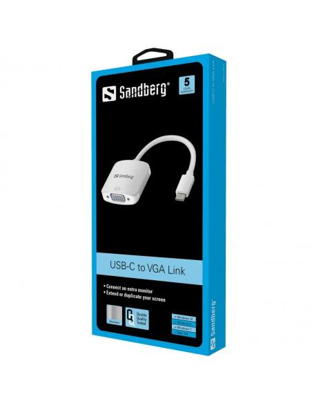 Sandberg USB-C to VGA Link USB Type-C (D-Sub) Alumiini, Valkoinen Sandberg 136-13 - 2