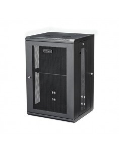 """StarTech.com 18U 19"""" Wall Mount Network Cabinet - 16"""" Deep Hinged Locking IT Switch Depth Enclosure Assembled Vented Computer St"""