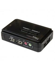 StarTech.com Svart USB KVM-switch-paket med 2 portar, audio och kablar Startech SV211KUSB - 1