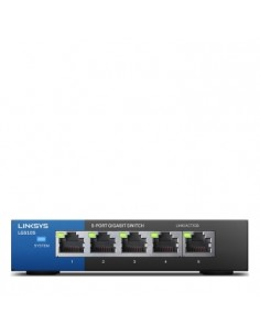 Linksys LGS105 Unmanaged Gigabit Ethernet (10/100/1000) Black, Blue Linksys LGS105-EU-RTL - 1
