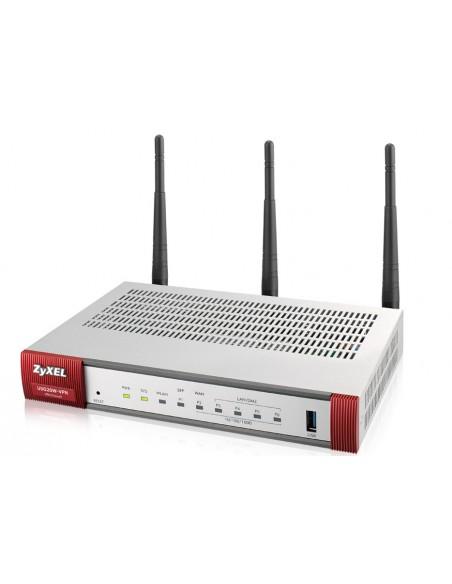 Zyxel USG20W-VPN-EU0101F langaton reititin Kaksitaajuus (2,4 GHz/5 GHz) Gigabitti Ethernet Harmaa, Punainen Zyxel USG20W-VPN-EU0