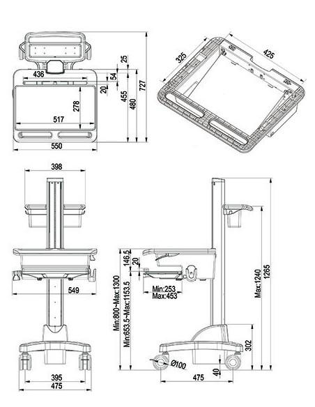 Multibrackets 0766 multimedialaitteiden kärry ja teline Hopea, Valkoinen Kannettava tietokone Multimediakärry Multibrackets 7350
