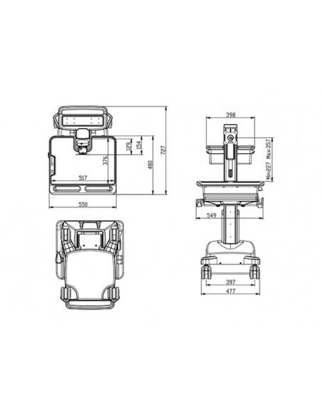 Multibrackets 0964 multimedialaitteiden kärry ja teline Hopea, Valkoinen PC Multimediakärry Multibrackets 7350073730964 - 8