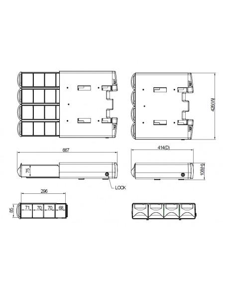 Multibrackets 4672 multimedialaitteiden kärryjen lisävaruste Harmaa, Hopea Alumiini, Muovi, Terästä Laatikko Multibrackets 73500