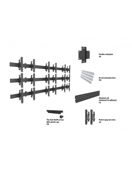 Multibrackets M Wallmount Pro MBW3x3U Push In Pop Out Black Multibrackets 7350073735013 - 7