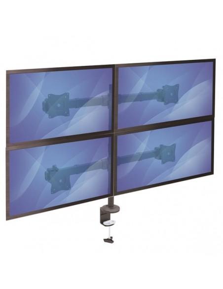 "StarTech.com ARMQUAD monitorin kiinnike ja jalusta 68.6 cm (27"") Puristin Musta Startech ARMQUAD - 7"