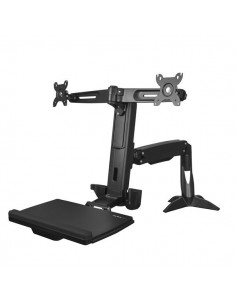 "StarTech.com Sit Stand Dual Monitor Arm - Desk Mount Computer Adjustable Standing Workstation for Up to 24"" Displays VESA Starte"