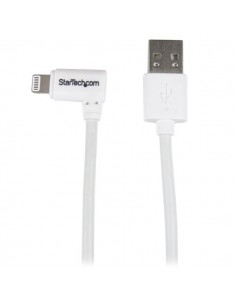 StarTech.com 1 m (3 ft.) USB to - Right Angle iPhone / iPad iPod Charger Cable 90 Degree Lightning Apple MFi Certified White Sta