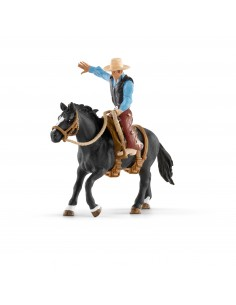 Schleich Farm Life Saddle bronc riding with cowboy Schleich 41416 - 1