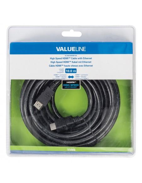 Valueline VLVB34000B100 HDMI-kaapeli 10 m HDMI-tyyppi A (vakio) Musta Valueline VLVB34000B100 - 4