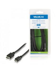 Valueline VLVB34500B30 HDMI-kaapeli 3 m HDMI-tyyppi A (vakio) HDMI Type C (Mini) Musta Valueline VLVB34500B30 - 1