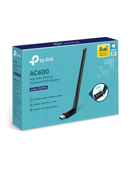 TP-LINK AC600 High Gain Wireless Dual Band USB Adapter WLAN 600 Mbit/s Sisäinen Tp-link ARCHER T2U PLUS - 7