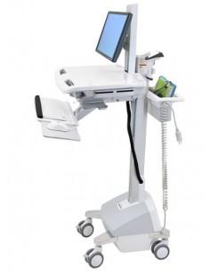 Ergotron StyleView EMR Cart with LCD Pivot, LiFe Powered, EU Alumiini, Harmaa, Valkoinen Litteä paneeli Multimediakärry Ergotron