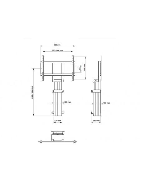 Multibrackets M Motorized Public Floormount 160kg Black SD Multibrackets 7350073734603 - 8