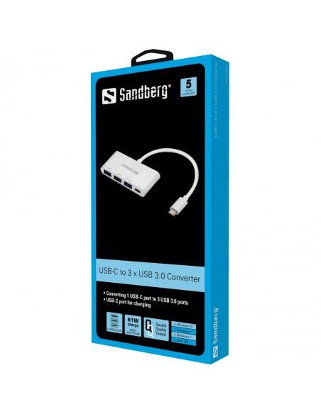 Sandberg USB-C to 3xUSB 3.0 Hub + PD USB 3.2 Gen 1 (3.1 1) Type-C 5000 Mbit/s Alumiini, Valkoinen Sandberg 136-03 - 2