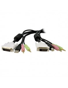 StarTech.com 4-in-1 USB Dual Link DVI-D KVM KVM-kaapeli Musta 4.57 m Startech DVID4N1USB15 - 1