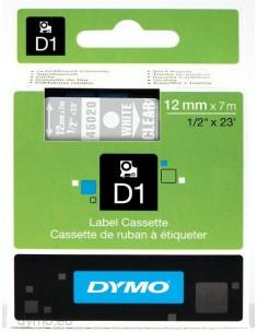 DYMO D1 - vakiopolyesteritarrat Valkoinen läpinäkyvällä -12mm x 7m Dymo S0720600 - 1