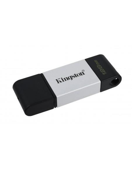 Kingston Technology DataTraveler 80 USB-muisti 128 GB USB Type-C 3.2 Gen 1 (3.1 1) Musta, Hopea Kingston DT80/128GB - 3