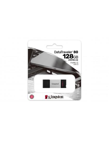 Kingston Technology DataTraveler 80 USB-muisti 128 GB USB Type-C 3.2 Gen 1 (3.1 1) Musta, Hopea Kingston DT80/128GB - 6