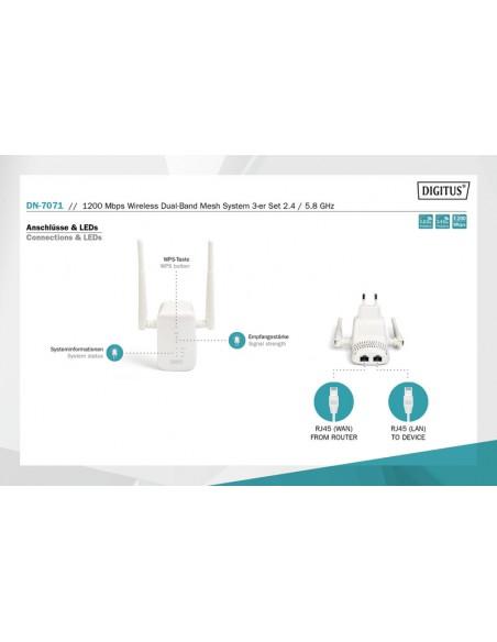 Digitus DN-7071 langaton reititin Gigabitti Ethernet Kaksitaajuus (2,4 GHz/5 GHz) Valkoinen Digitus DN-7071 - 9