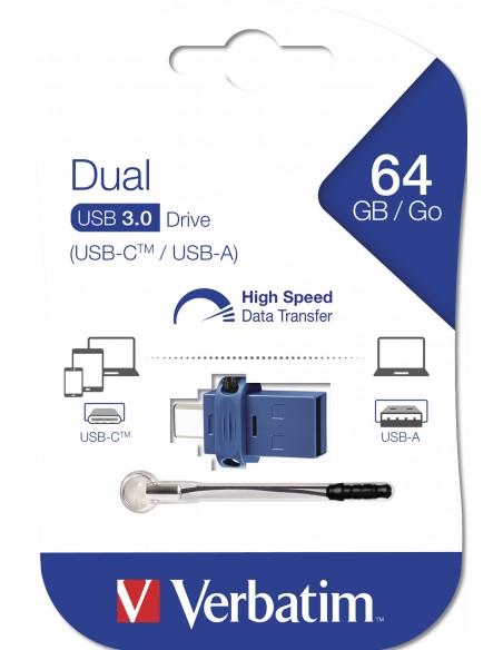 Verbatim 49967 USB-muisti 64 GB USB Type-A / Type-C 3.2 Gen 1 (3.1 1) Musta, Sininen, Hopea Verbatim 49967 - 5