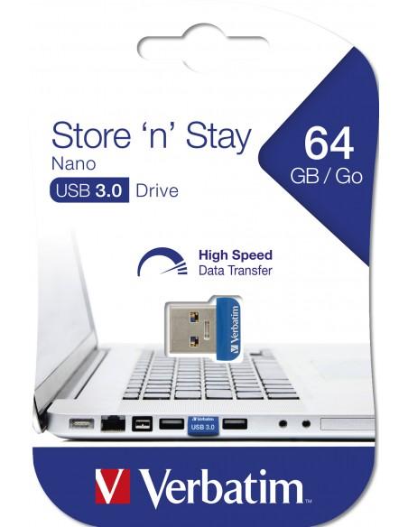 Verbatim Store 'n' Stay Nano USB-muisti 64 GB USB A-tyyppi 3.2 Gen 1 (3.1 1) Sininen Verbatim 98711 - 5