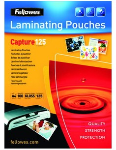 Fellowes Glossy 125 Micron Card Laminating Pouch - 65x95mm Fellowes 5306702 - 1