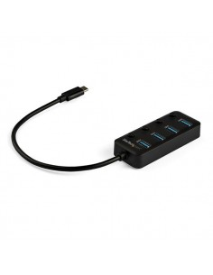 StarTech.com USB C-hubb med 4 portar - 4x USB-A individuella strömbrytare Startech HB30C4AIB - 1