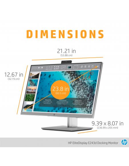 "HP EliteDisplay E243d 60.5 cm (23.8"") 1920 x 1080 pixels Full HD LED Grey, Silver Hp 1TJ76AA#ABB - 14"