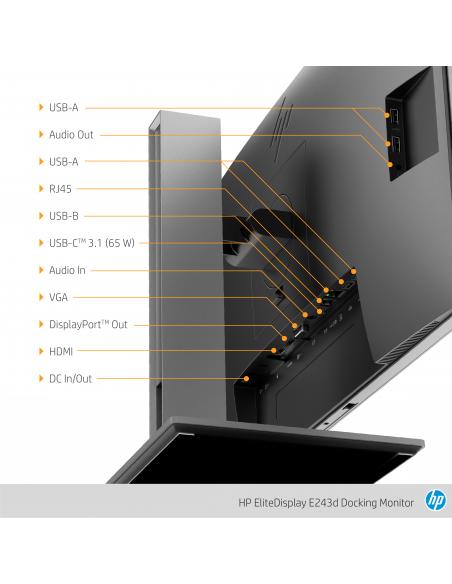 "HP EliteDisplay E243d 60.5 cm (23.8"") 1920 x 1080 pixels Full HD LED Grey, Silver Hp 1TJ76AA#ABB - 15"