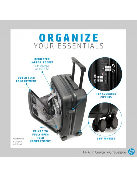 HP All in One Carry On Luggage Trolley Black Acrylonitrile butadiene styrene (ABS), Polycarbonate Hp 7ZE80AA - 6