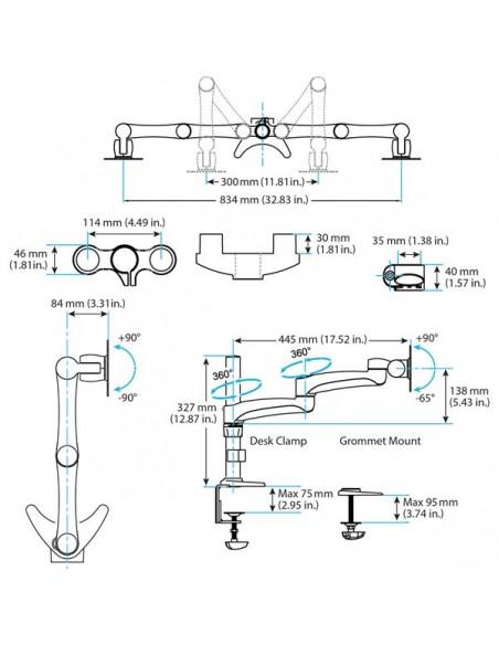 "StarTech.com ARMDUAL monitorin kiinnike ja jalusta 61 cm (24"") Puristin Musta Startech ARMDUAL - 7"