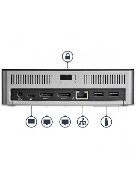 StarTech.com MST30C2HDPPD kannettavien tietokoneiden telakka ja porttitoistin Langallinen USB 3.2 Gen 1 (3.1 1) Type-C Musta Sta